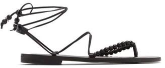 Álvaro González Akaiah Beaded Wraparound Leather Sandals - Black