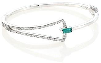 Hueb Spectrum 18K White Gold, Emerald & Diamond Bangle Bracelet