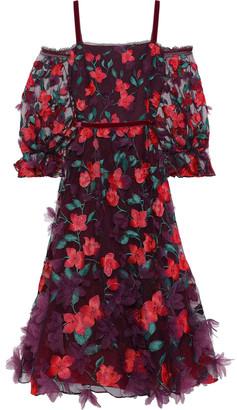 Marchesa Cold-shoulder Floral-appliqued Embroidered Tulle Midi Dress