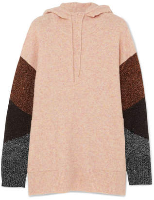 By Malene Birger Brunilde Hooded Metallic-paneled Knitted Sweater - Pink