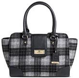 Borsani Women's Agatha Plaid Satchel Handbag with Magnetic Closure - Black/White