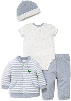 Little Me Boys' Dino Print Cardigan, Bodysuit, Pants & Hat Set