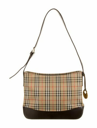 Burberry Vintage Haymarket Check Shoulder Bag Tan