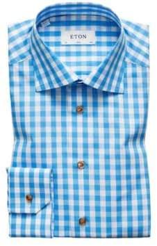 Eton Slim Fit Gingham Plaid Dress Shirt