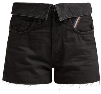 Atelier Jean Flip Fold-over Denim Shorts - Womens - Black