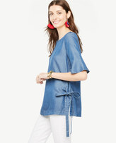 Ann Taylor Petite Chambray Side Tie Top