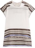Lemlem Safara fringed striped cotton-blend gauze hooded poncho