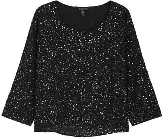 Eileen Fisher Black Sequin-embellished Silk Top
