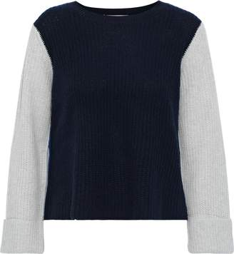 Autumn Cashmere Cropped Color-block Ribbed Cashmere Sweater