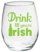 """Kate Aspen Set of 4) Stemless Wine Glass 15oz with """"Drink Till You're Irish"""" Green Design"""