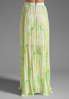 Alice + Olivia Shannon Pleated Maxi Skirt in Citrus Tie Dye/Yellow