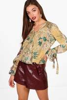 boohoo Erin Floral Printed Wrap Over Blouse
