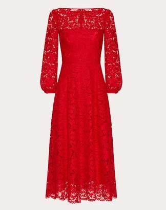 Valentino Heavy Lace Dress Women Red Cotton 71%, Vinyon 21%, Polyamide 8% 40