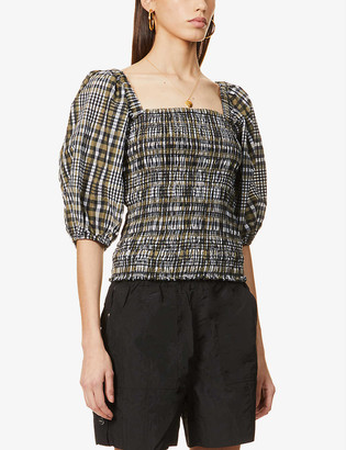 Ganni Checked puff-sleeved cotton-blend top