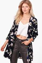 boohoo Petite Caitlin Floral Woven Duster Jacket navy