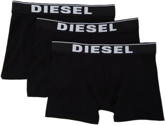 Diesel Three-Pack Black UMBM Sebastian Boxer Briefs