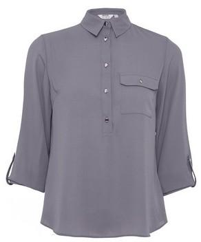 Dorothy Perkins Womens Dp Petite Charcoal Roll Sleeve Shirt