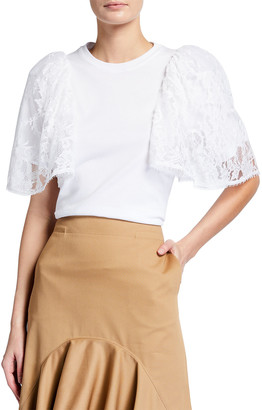 Givenchy Flutter Lace Sleeve T-Shirt