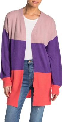 MelloDay Colorblock Open Front Cardigan (Petite)
