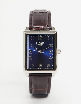 Limit rectangualar faux leather watch in brown