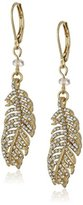 "lonna & lilly Turq Treasure"" Worn Gold-Tone and Crystal Feather Leverback Drop Earrings"
