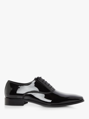 Dune Swan Patent Leather Oxford Shoes, Black