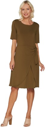 H by Halston Regular Jet Set Jersey Dress with Faux Sarong Tie