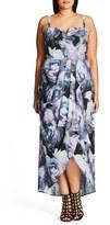 City Chic 'Luminous' Print Faux Wrap Maxi Dress (Plus Size)