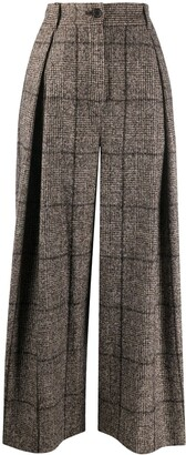 Dolce & Gabbana Tweed Check Wide-Leg Trousers