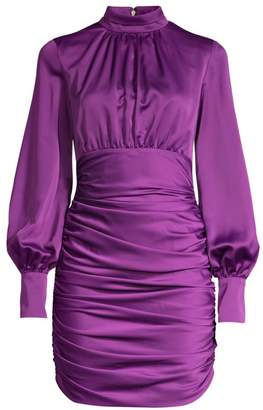 Jay Godfrey Como Ruched Satin Mini Dress
