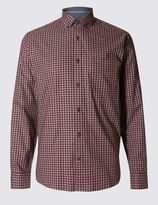 Marks and Spencer Tailored Fit Pure Cotton Grid Checked Shirt