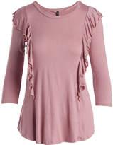Celeste Dark Pink Ruffle-Accent Three-Quarter Sleeve Top