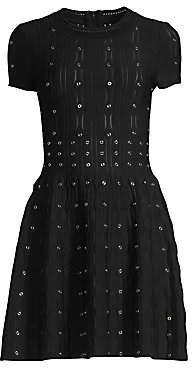 The Kooples Women's Grommet Laser Cut Smocked Fit-&-Flare Dress