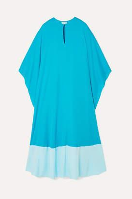 Reem Acra Draped Two-tone Silk-georgette Midi Dress - Light blue