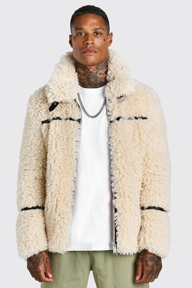 boohoo Mens White Teddy Faux Fur Aviator With Leather Look Trims, White