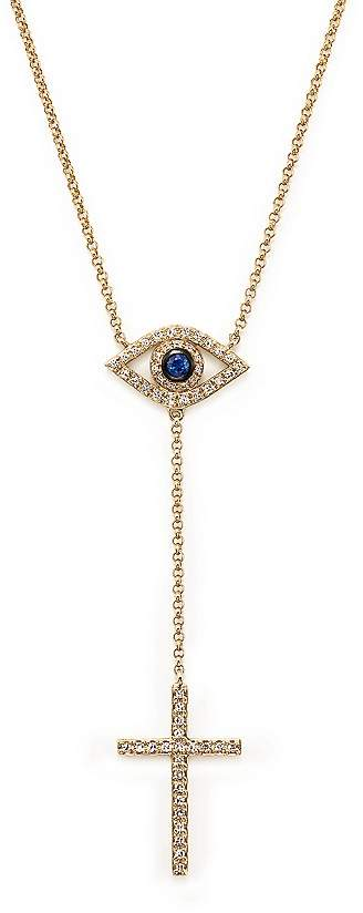 """Bloomingdale's Diamond and Sapphire Evil Eye and Cross Y Necklace in 14K Yellow Gold, 14"""""""