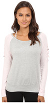 Pink Lotus Off Beat Turnout Scoop Neck Contrast Sweater w/ Sleeve Detail