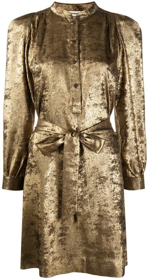 Thumbnail for your product : Zadig & Voltaire Retouch tie-waist velvet shirt dress