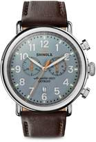 Shinola The Runwell Stainless Steel Leather Strap Chronograph Watch