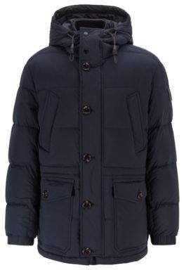 BOSS Regular-fit jacket with knitted inner collar