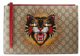 Gucci Embroidered Angry Cat Gg Supreme Zip Pouch - Beige