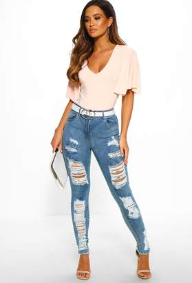 Pink Boutique Move On Up Light Blue High Waisted Distressed Skinny Jeans