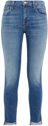 J Brand 811 Distressed Striped Mid-rise Skinny Jeans
