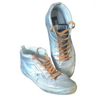 Golden Goose Mid Star Silver Leather Trainers