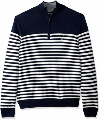 Nautica Men's Tall Half-Zip Mock Neck Breton Sweater