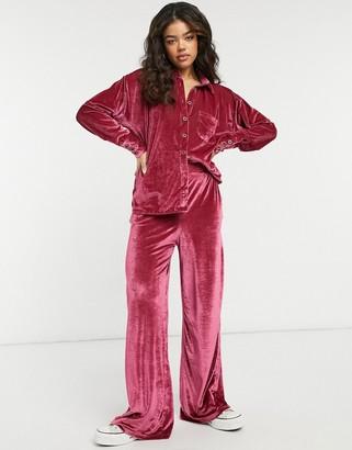 Free People Kit Kat lounge velour shirt and wide leg pants set in pink