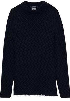 Max Mara Tolosa Fringed Cable-knit Wool And Cashmere-blend Sweater