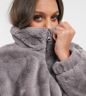 ASOS DESIGN Petite cropped faux fur jacket in gray