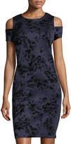 Neiman Marcus Cold-Shoulder Velvet Burnout Dress