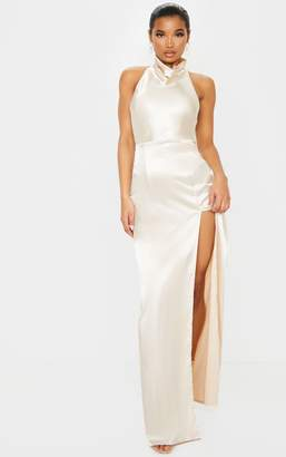 PrettyLittleThing Champagne Satin High Neck Backless Maxi Dress